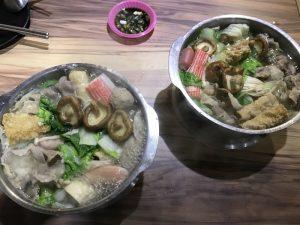 林森北路の鍋博士臭臭鍋の豚肉鍋と牛肉鍋(火にかけた後)