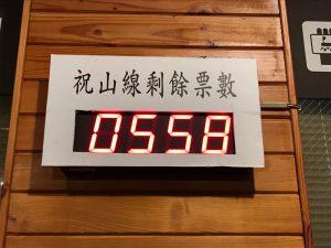2021年3月7日の阿里山鉄道祝山線の当日券の残り販売枚数