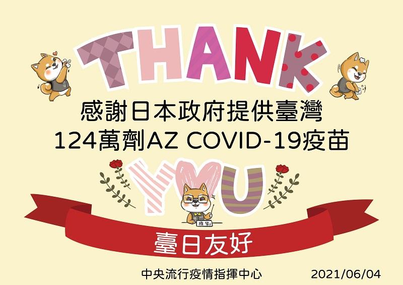 感謝日本政府提供台湾124萬劑AstraZeneca COVID-19疫苗